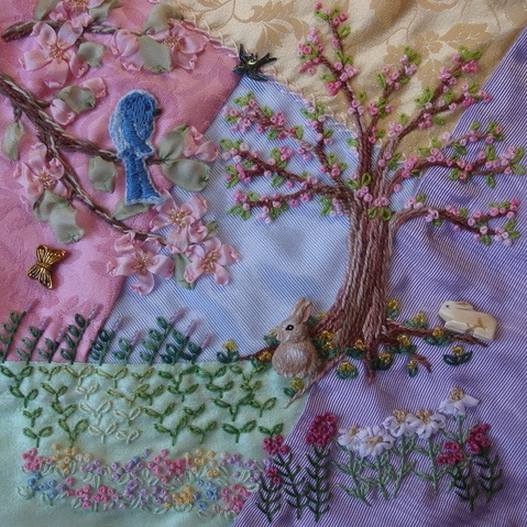 Bunny, bird & tree for crazy quilt