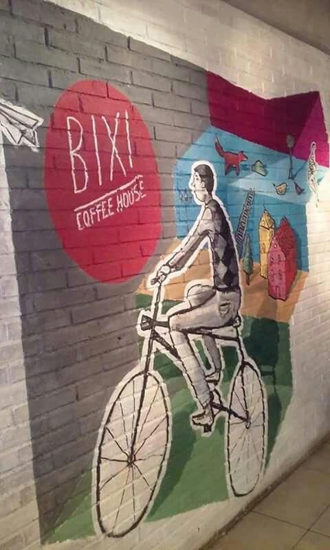 #Streetart en #bixicoffeehouse realizado por #julienguinet #bixi #coffee #house