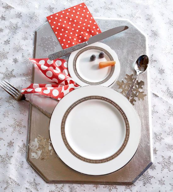 Snowman Table Setting ~ Arrange plates and silverware to look like a snowman for a festive table setting or dessert display... too cute!