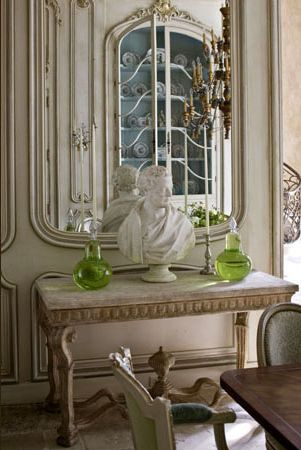 Love The Neutral Tones Console Table Mirror That Reflects And Statue