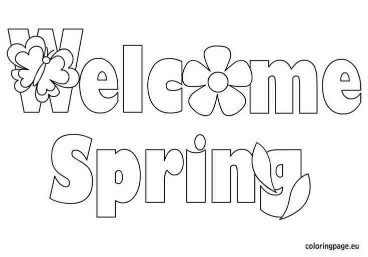 Spring coloring pages welcome spring and coloring pages for Welcome spring coloring pages