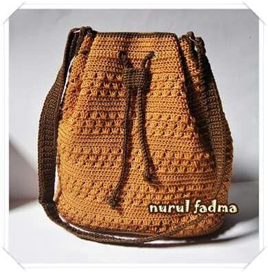 Crochet drawstring bag by nurulfadma