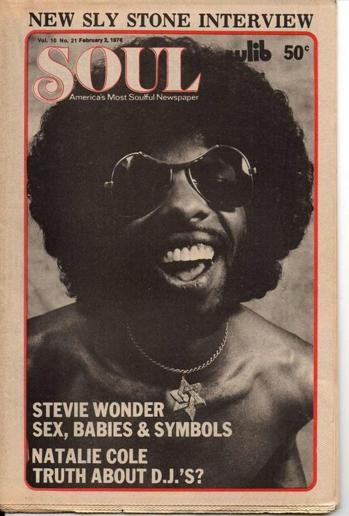 superseventies:  Sly Stone on the cover of Soul, February 2, 1976.