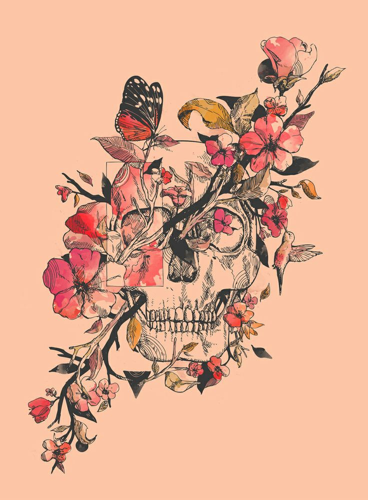 Skull Print - #tattoo #idea - like this idea without the skull,  just flowers