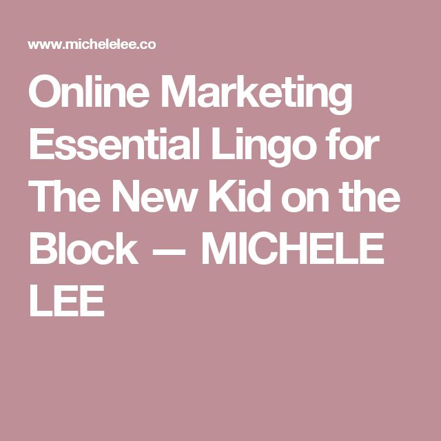 Online Marketing Essential Lingo for The New Kid on the Block — MICHELE LEE