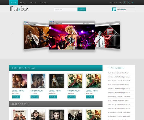 Music Box Website Template