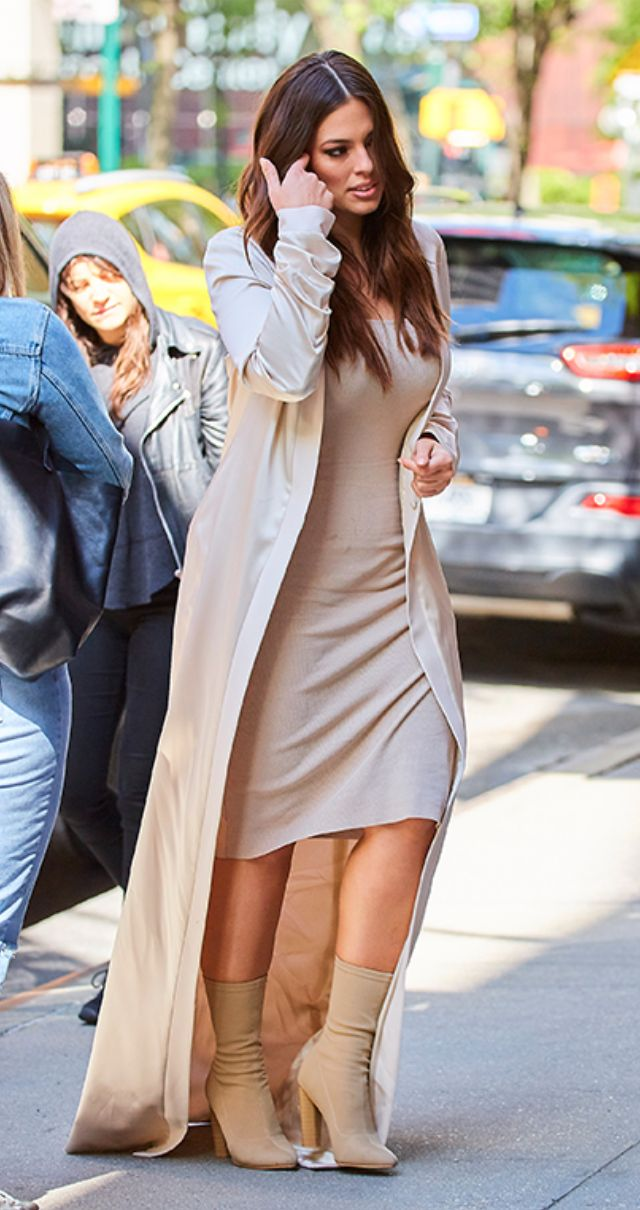 Ashley Graham opted for a monochromatic peachy nude ensemble while heading into ABC Studios in NYC