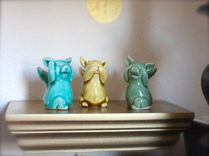 """OMG!!! Love pigs with wings & they are """"Hear no Evil, Speak no Evil & Hear no Evil"""" pigs on top of it!!!"""