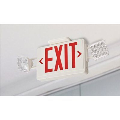 Lithonia Lighting Contractor Select Thermoplastic LED Emergency Exit Sign Light Combo