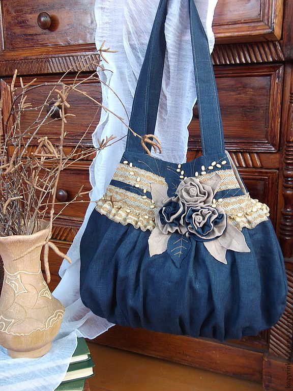 """Cумка""""Неба синь"""" - тёмно-синий,бежевый,сумка женская,льняная сумка,сумка с декором"""