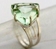 Anel Prata 950 Obsidiana Verde Trillion Montado em Prata de Lei Ajustavel Cod 29.7