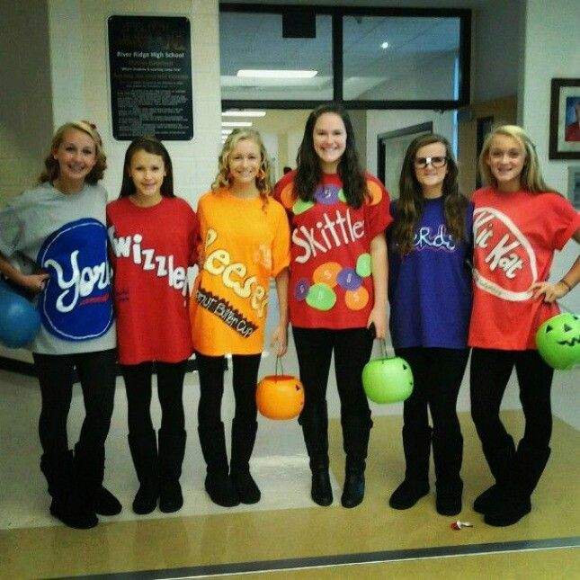 diy candy halloween costume idea for a group of girls peppermint patties skittles twizzler kit kat etc this would be a simple last minute costume with - Halloween At Work Ideas