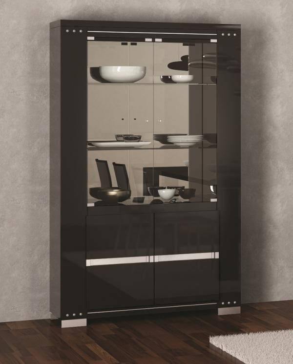 Armonia Diamond Black High Gloss Cabinet With Swarovski Crystal Detail And Opt LED Lighting