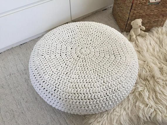 Large Meditation Cushion Knit Round Pillow Seating Big Crochet Pouffe Ottoman Soft Cotton Puff Chair Modern Interior Decor Crochet Floor Cushion Floor Cushions Floor Pouf