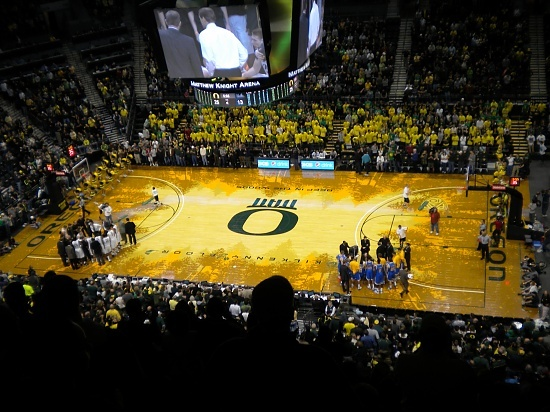 Our First Oregon Basketball Game In The New Matt Court, Jan. 2011.