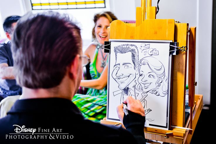 A caricature artist provides a fun activity at the reception and a unique favor for guests