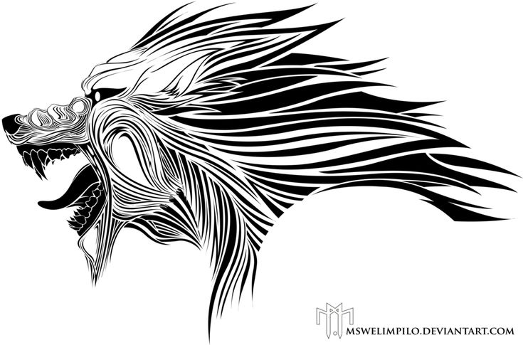 Wolf head tribal