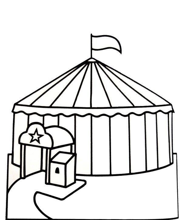Okul öncesi Sirk Gösterisi Boyama Sayfaları Sirk çadırı Boyama