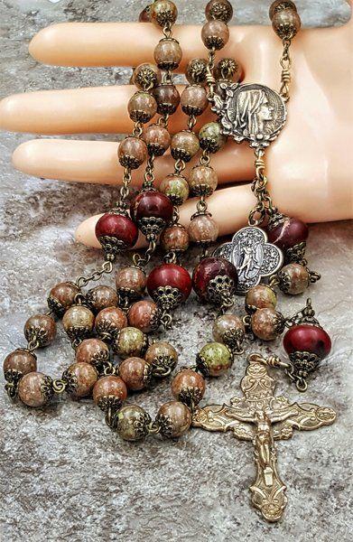 St Raphael Sickness & Danger Protection, Stress, Balance Solid Bronze Antique Style Jasper Gemstone Rosary