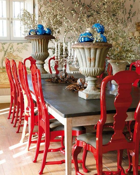 Vintage Red Painted Furniture @Alex Wilson....this is pretty!  I do like the chairs a different color