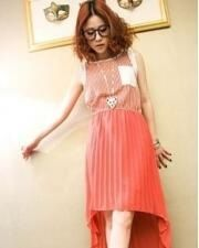 TM1444-Red 152 Material Chiffon, Bust 82 cm, Front Length 85 cm, Back Length 120 cm
