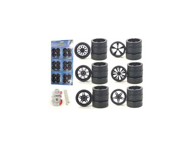 Other Custom Wheels for 1/18 Scale Cars and Trucks 24pc Wheels & Tires Set - Rubber Tires. Six different sets of four wheels. This set has 24 rotors, 24 wheels, 24 axles, 24 rims.-Weight: 1. Height: 5. Width: 9. Box Weight: 1. Box Width: 9. Box Height: 5. Box Depth: 5