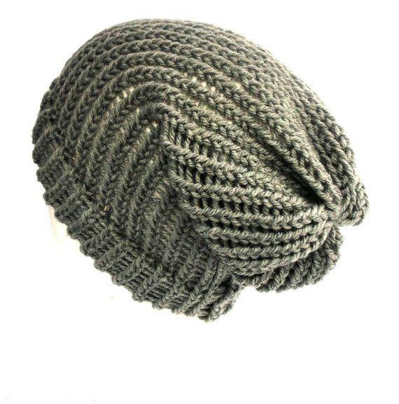 fd8198e3f Grey wool slouchy hat, vegan wool beanie, unisex hat for dreads ...