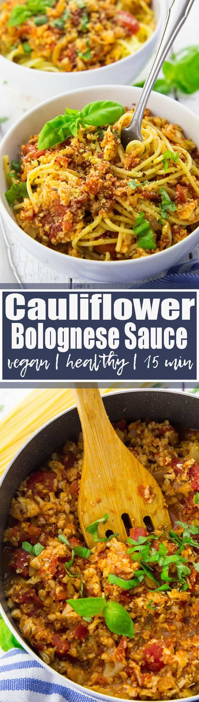 This cauliflower Bolognese sauce is not only super easy to make but it's also incredibly healthy! Instead of ground meat, the recipe calls for cauliflower. This easy pasta sauce is vegan, gluten-free, low in calories, and ready in less than 15 minutes. Vegan recipes can be so easy!