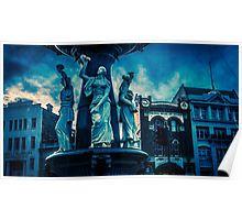 Deep Blue at the Alexandra Fountain - Bendigo, Victoria Poster