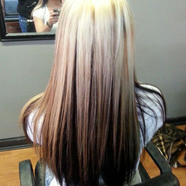 Platnium blonde hair color with reverse ombre hair color ...
