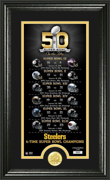 Pittsburgh Steelers Super Bowl 50th Anniversary Bronze Coin Photo Mint celebrating their 6 Super Bowl wins matted and framed