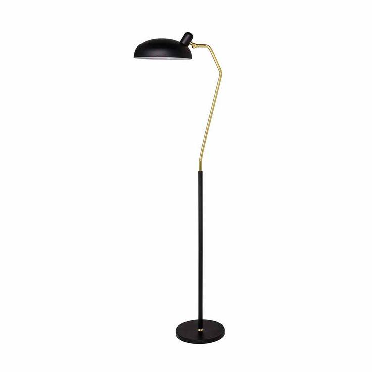 """Die Stehlampe """"Inga"""" verbindet Stil mit Luxus. Denn sowohl Lampenfuß als auch Lampenschirm sind in elegantem Schwarz gehalten. Dazwischen blinkt ein goldfarbener Leuchtarm auf, der den schwenkbaren Schirm hält. Sie können die..."""