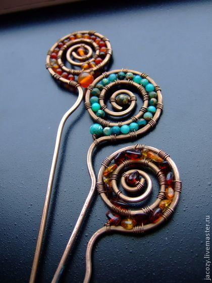 Заколки ручной работы. Ярмарка Мастеров - ручная работа Медные шпильки для волос. Handmade.