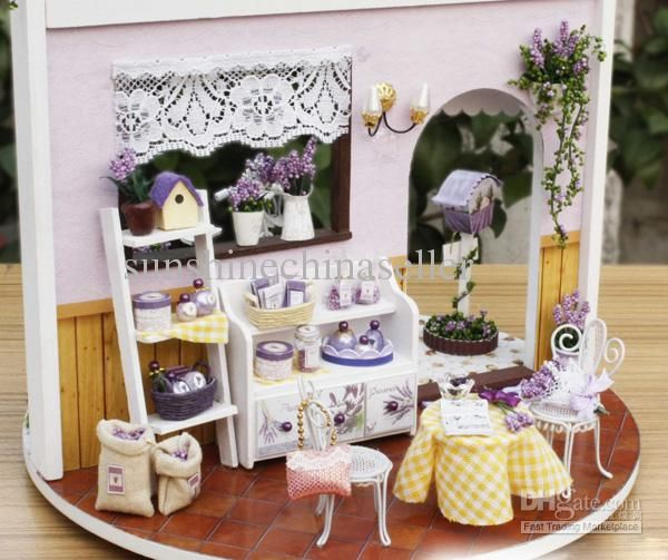 2017 Diy Wooden Dollhouse Miniatures Diy Kits Lavender