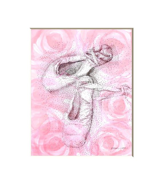 Toe shoe art print with roses ballet pictures romantic