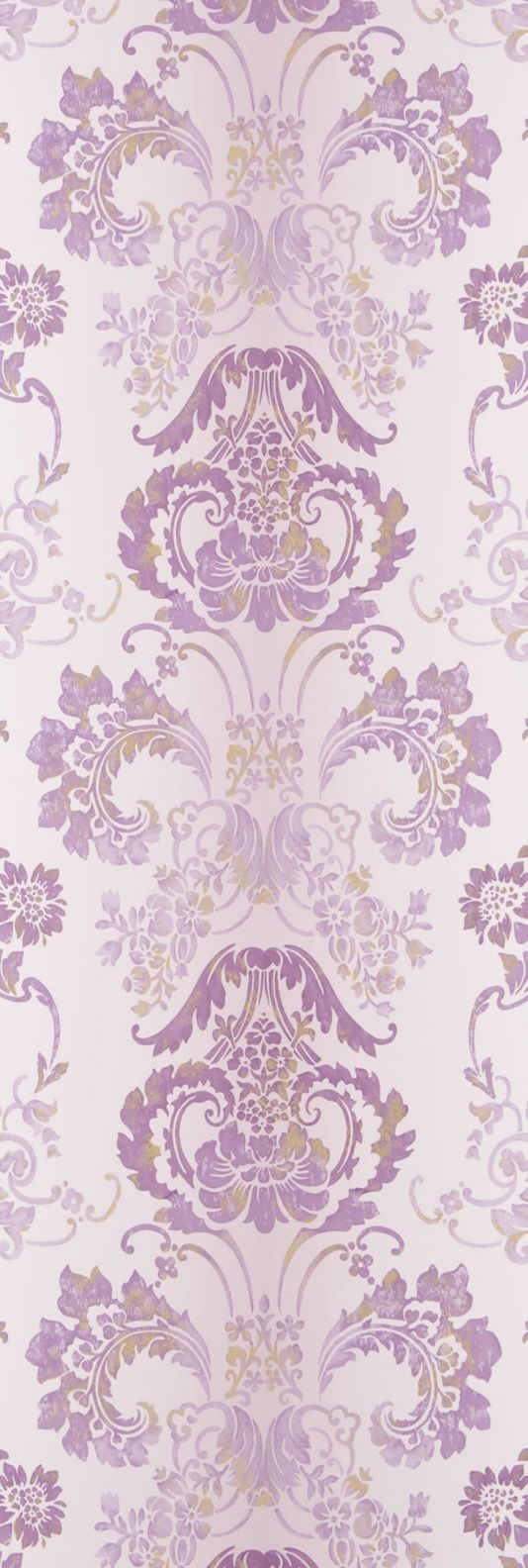 Kashgar Wallpaper A traditional damask shaded wallpaper in mauve with a contemporary metallic detail.