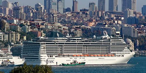 Istanbul has a large cruise port where lots of cruise ships can dock at the same time. It consists of two neighboring piers, the Galata Pier and the Salipazari Pier. Cruise ships dock in the European part of the city from Kabatas to near the Galata Bridge. The walking distance between the ends of the pier takes approximately 15 minutes. The cruise port of Istanbul is located approximately 2.5 km from Sultanahmet, where the major historical places located. http://goo.gl/bu6O3p