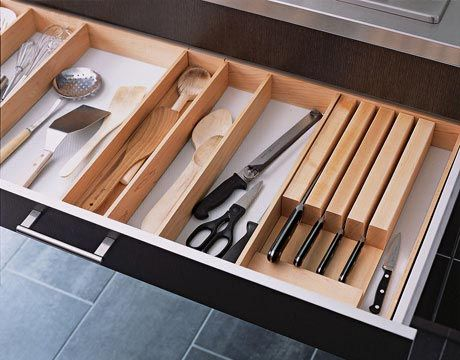 Extra-Wide Drawers: Inserts and drawer dividers organize utensils.