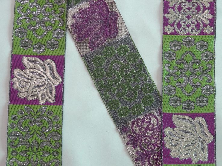 "Length 38 Inches - Jacquard Trim 1.9"" wide Woven Border Sew  Ribbon Lace T8858-4 #SewOn"