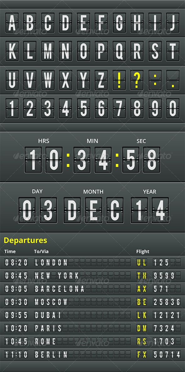 Vector Airport Table Alphabet Set airport, alphabet, analog, arrival, board, calendar, characters, collection, concept, countdown, counter, departure, design, destination, display, flight, font, information, letter, message, month, number, panel, scoreboard, set, style, text, typography, vector, year, Vector Airport Table Alphabet Set