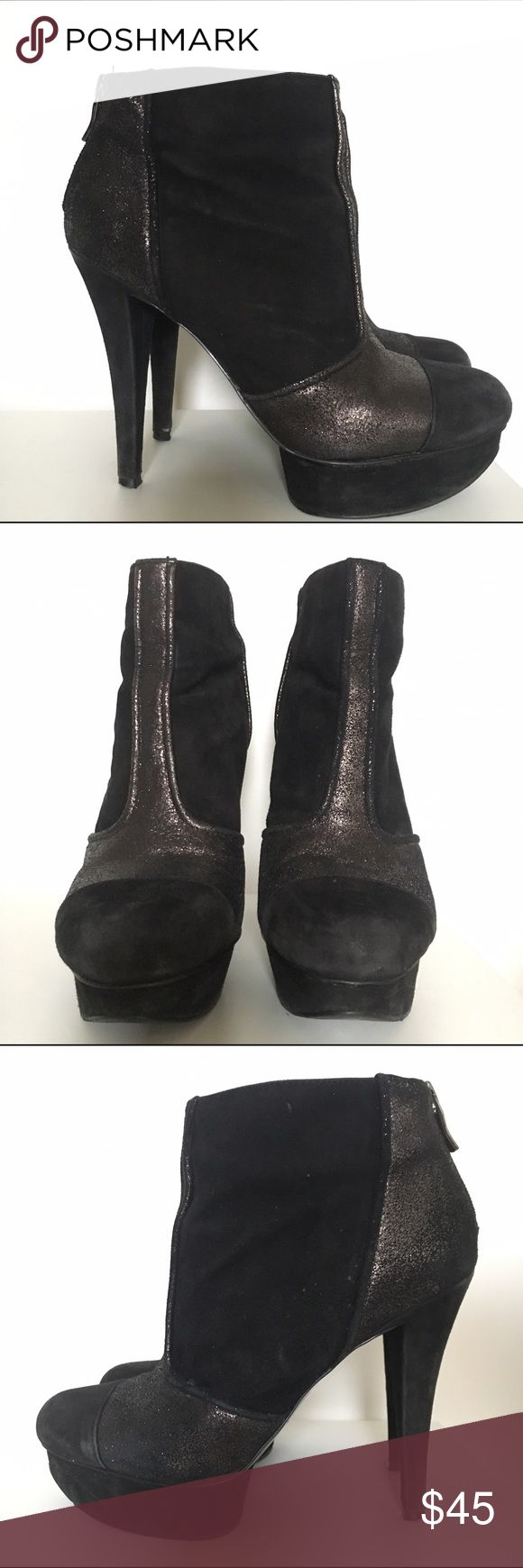 BCBGeneration Chazz Platform Ankle Boot Women's size 8.5, Chazz suede and leather ankle boot by BCBGeneration. Black/Gunmetal. Lightly worn, but in good condition. Perfect going out bootie. BCBGeneration Shoes Ankle Boots & Booties
