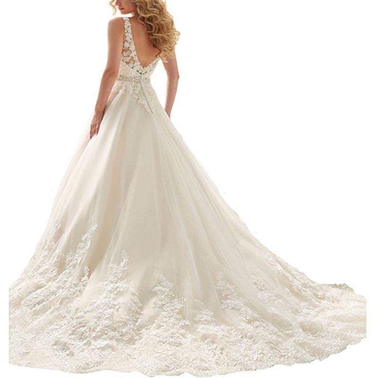 2017 Novo Branco marfim vestidos de noiva de renda uma linha de vestidos de noiva personalizado