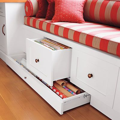 Hardworking window seat. Custom-size drawers make hanging files and gift wrap a cinch. | Photo: First Light/Alamy | thisoldhouse.comOld House, Ideas, Seats Storage, Windows Seats, Gift Wraps Storage, Paper Storage, Wraps Paper, Window Seats, Crafts Supplies