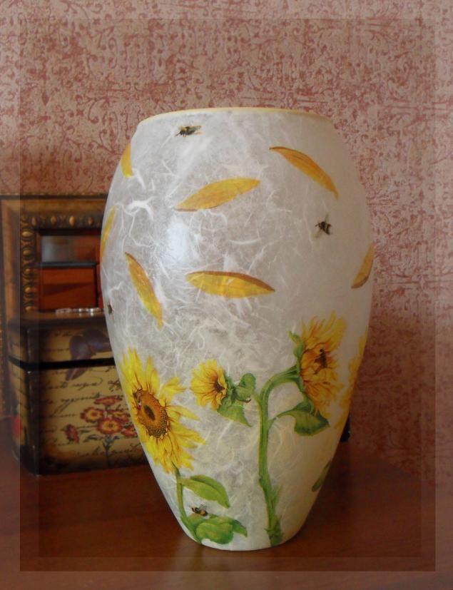 Vaso de vidro Decoupage - Feira Mestres - artesanal, feito à mão