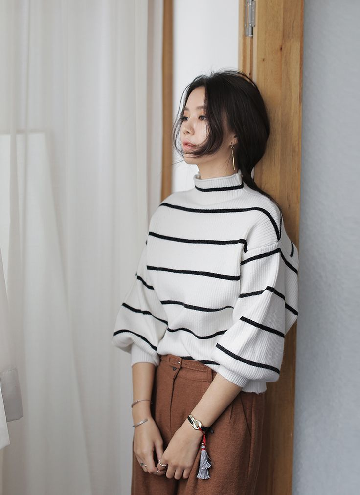 Leather midi skirt and striped sweater