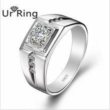 925 Plata Esterlina CZ Anillo de Diamantes para Los Hombres Grandes del Anillo Anillo de Diamantes Creado Joyería Anel Anillos de Compromiso de Boda(China (Mainland))
