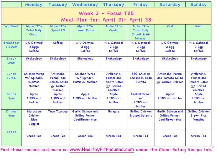 Meal Plans - Clean Eating Meal Plan T25 www.HealthyFitFocused.com