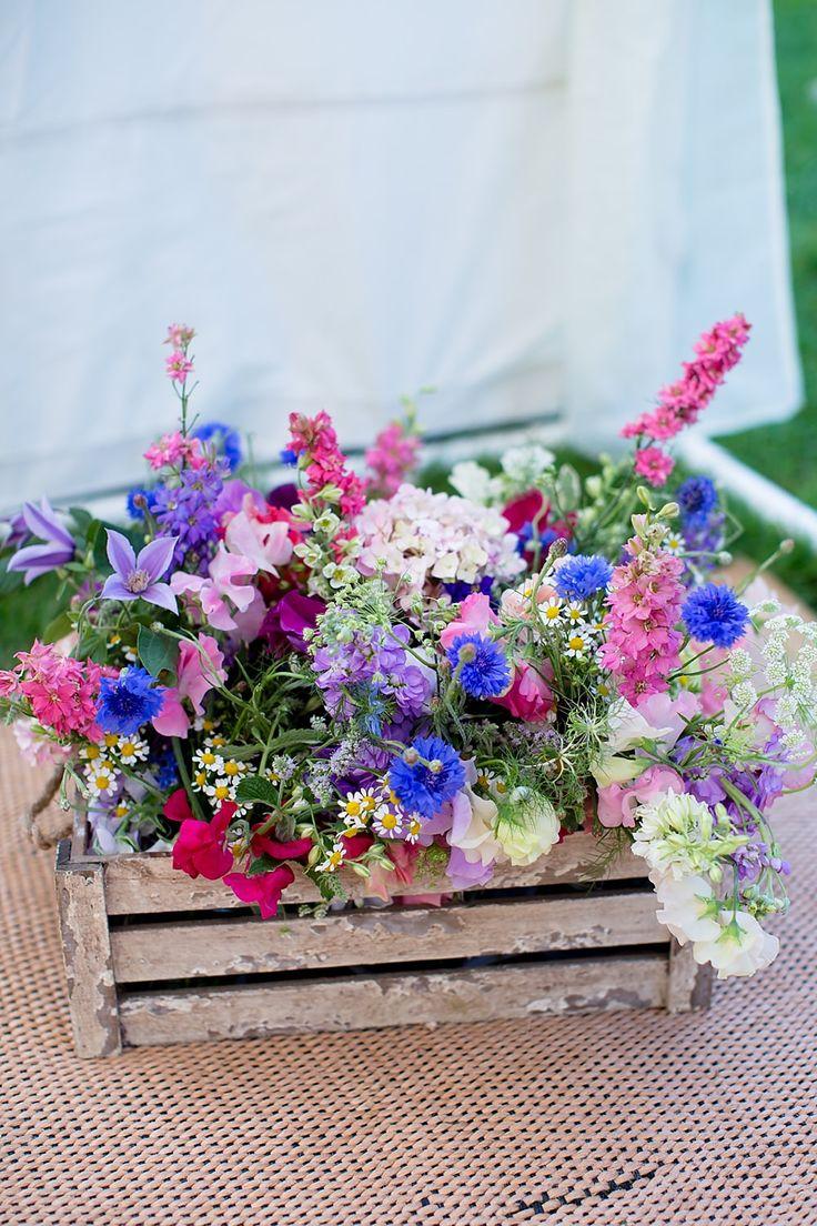 Wooden Crate Purple Wild Flowers | Chaucer Barn Norfolk | Rustic Wedding | Katherine Ashdown Photography | http://www.rockmywedding.co.uk/louise-bradley/