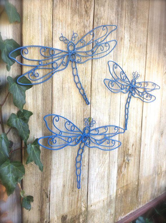 Dragonfly Decor Garden Decor Garden Wall Art by honeywoodhome