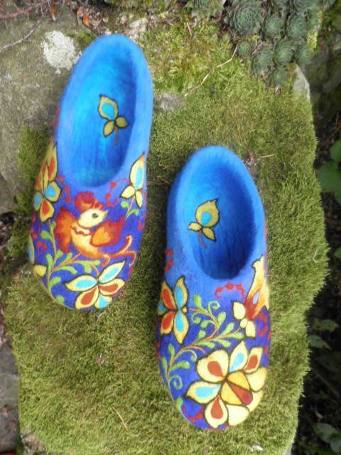 Felted Slippers Coloured Blue Fairy tale ♡ by IrinaU on Etsy